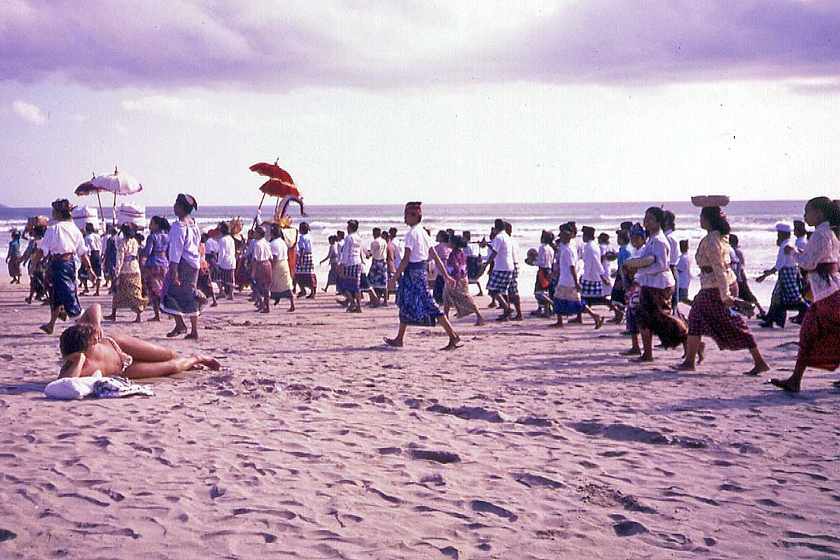 Procession at the beach on Bali