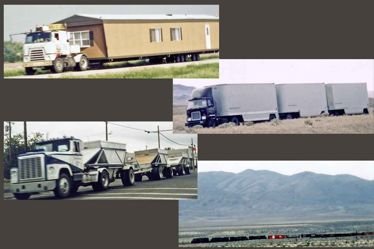 On the road in USA: trucks, train, mobile home