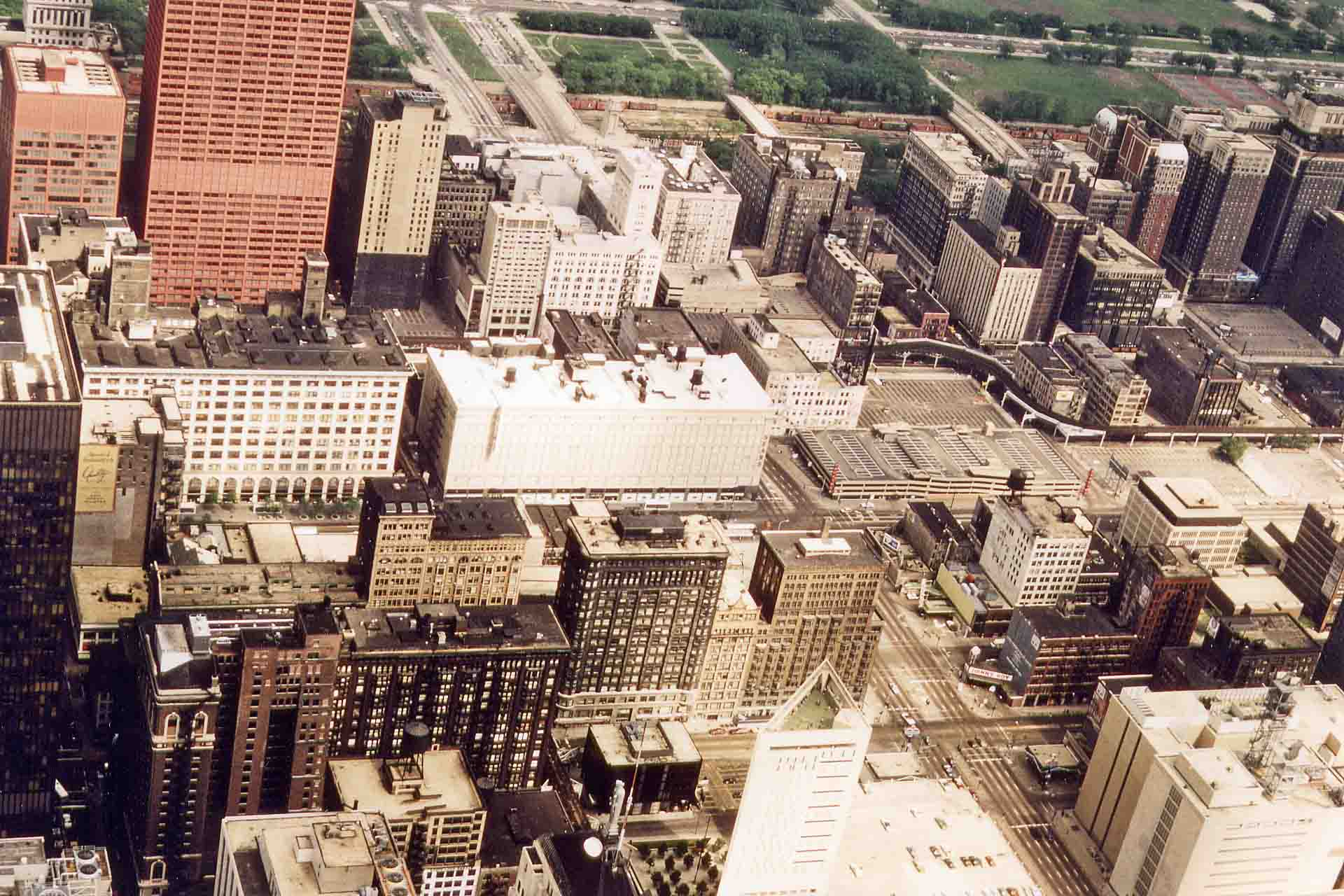 View from the Sears Tower in Chicago in 1981