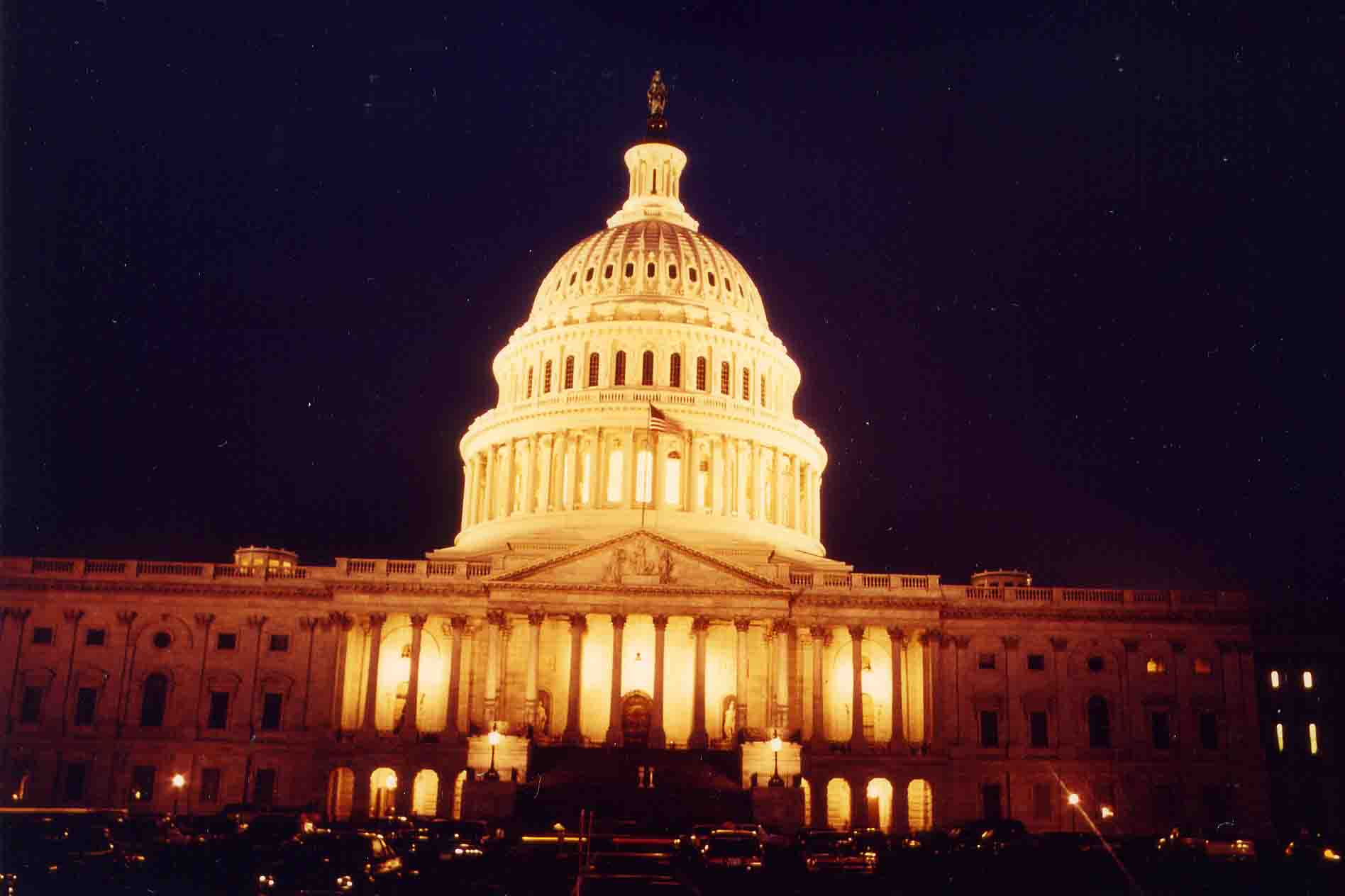 Capitol in Washington DC by night