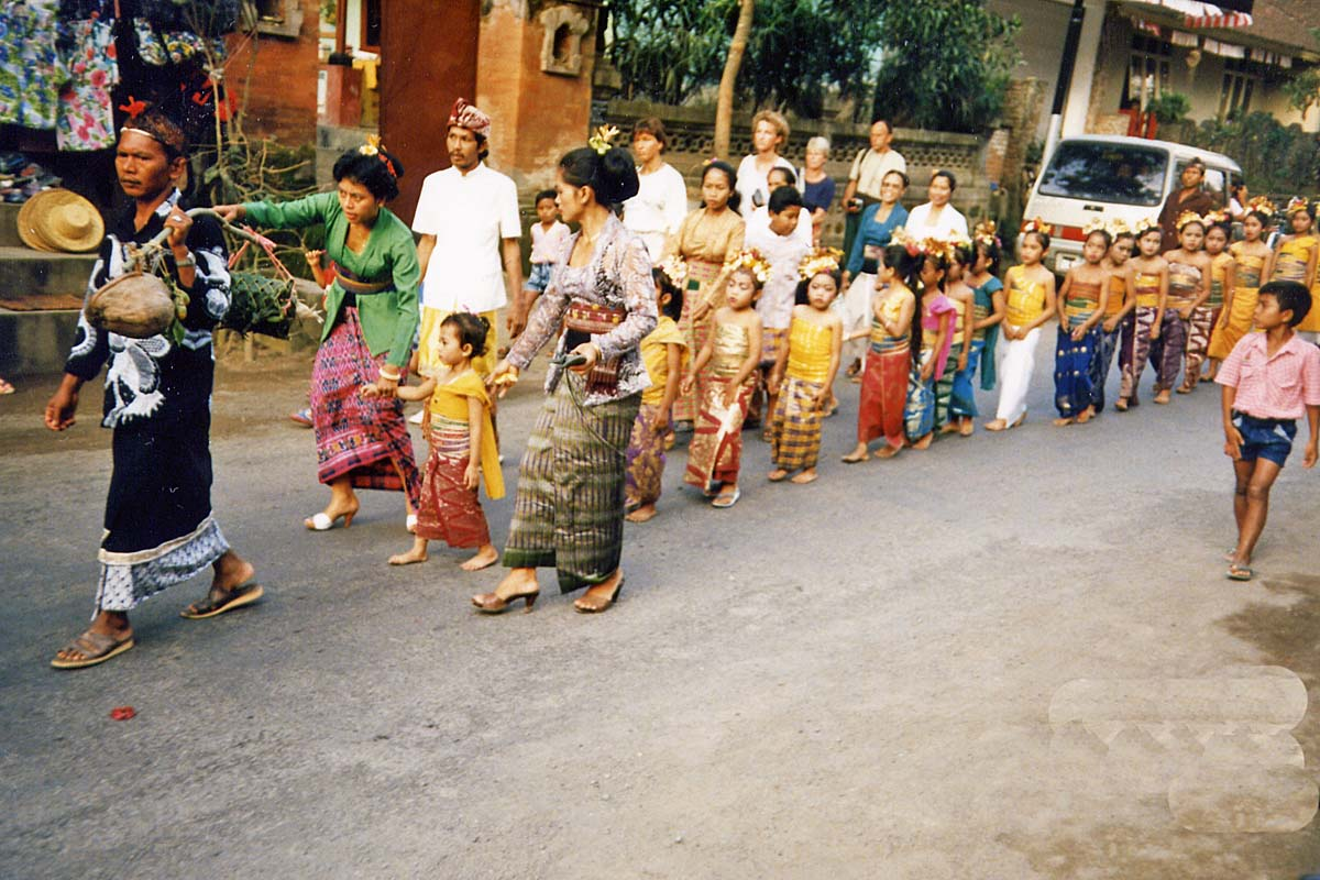 Procession in a street on Bali