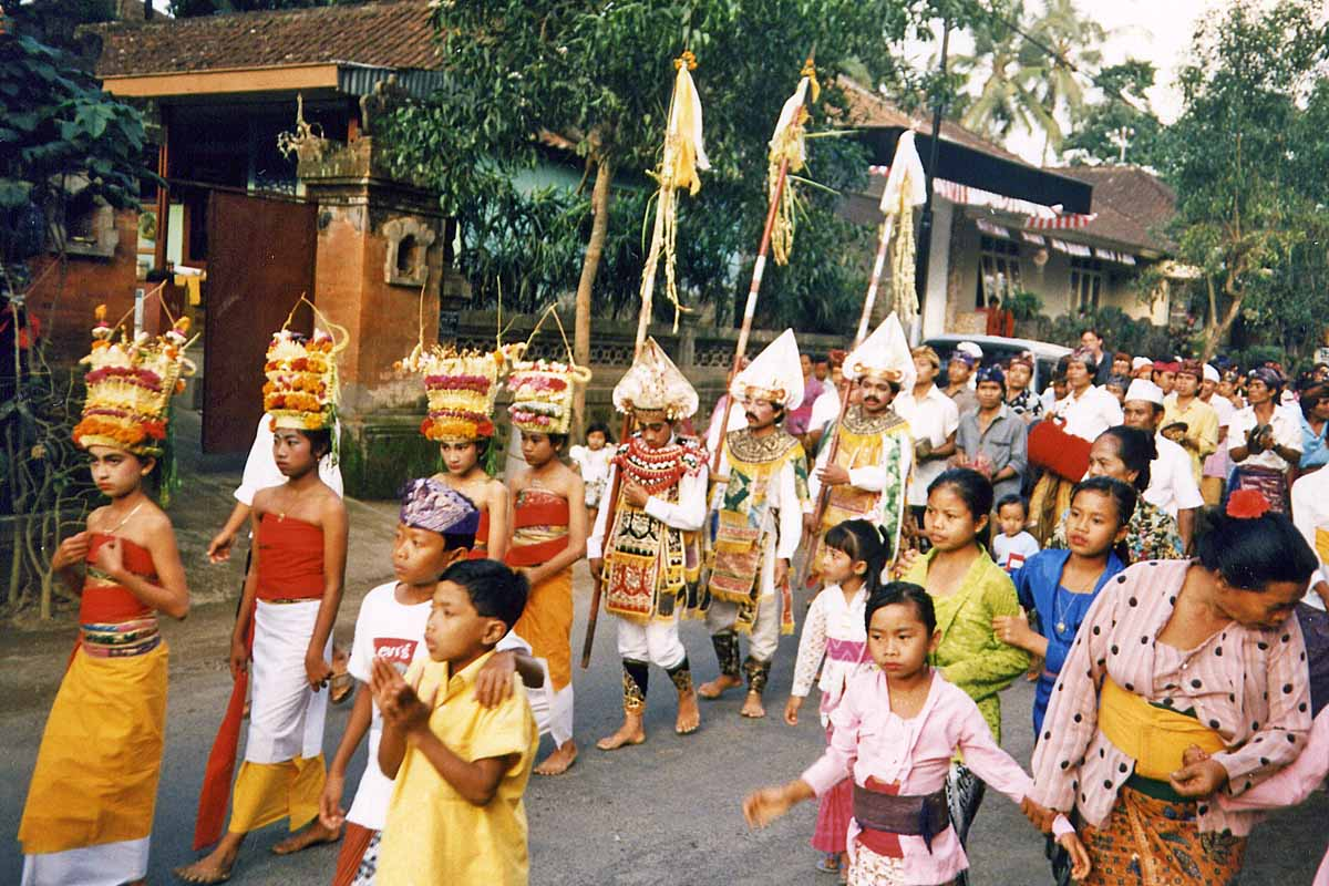 Dancers on the procession in Bali