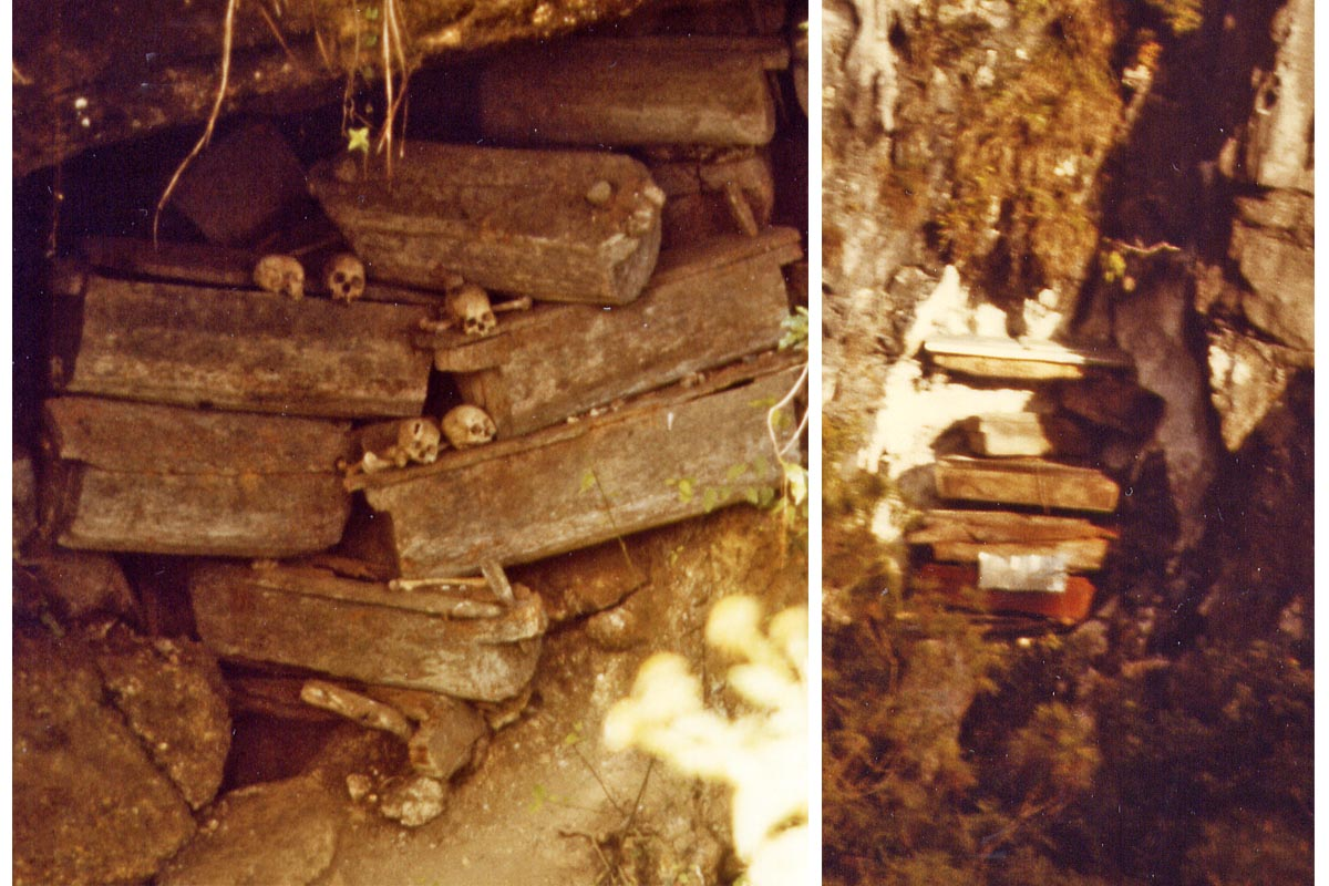 Coffins in a cave and hanging in Sagada, Philippines