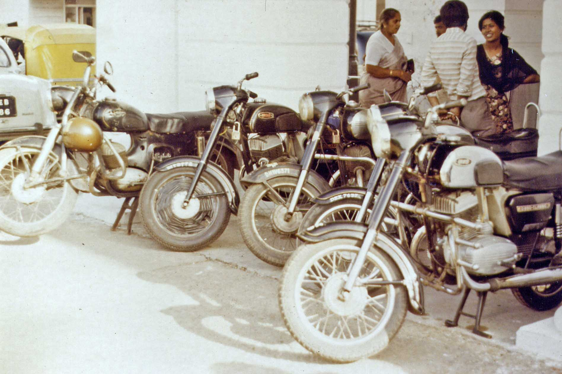 Motor bikes at Connaught Place in New Delhi