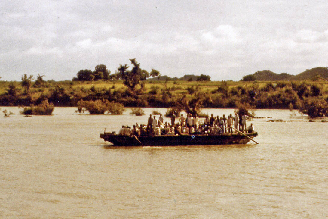 Transport by boat after the street was flooded