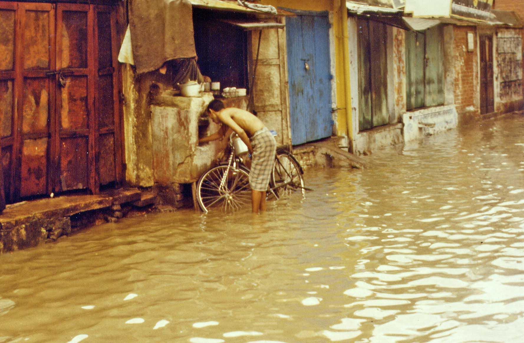 Flooded street in Varanasi