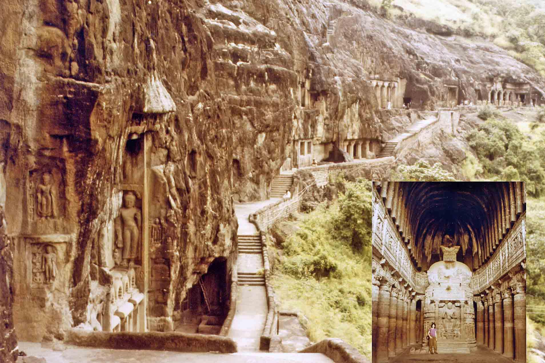 Temple in caves in Ajanta