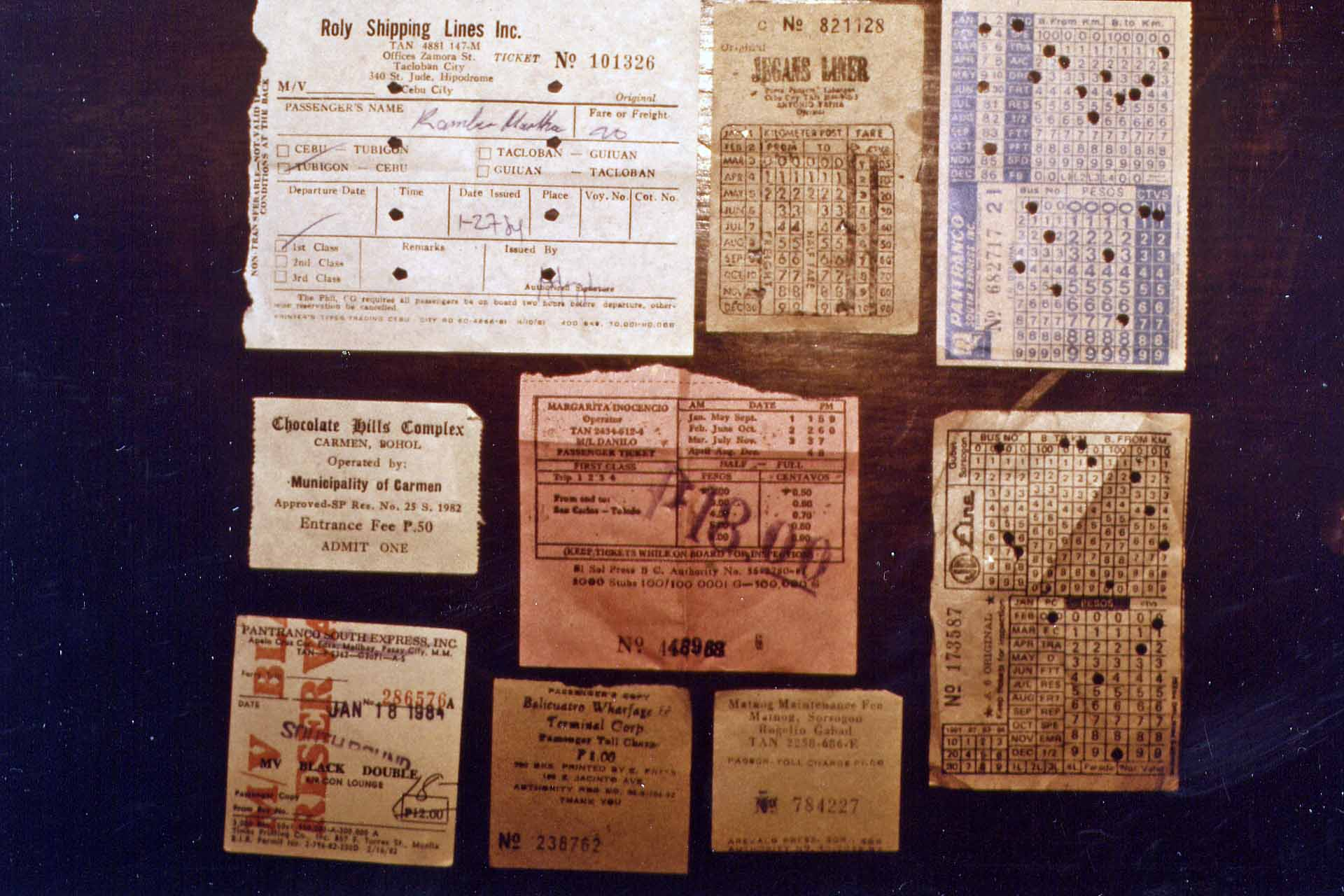 Bus- und ship tickets in the Philippines in 1984