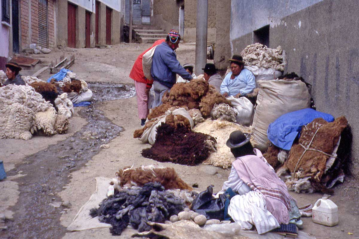 Market in La Paz with Alpaca Wool