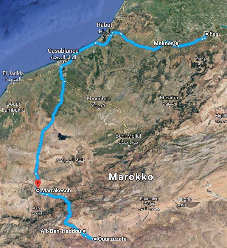 Reiseroute Marokko 1994