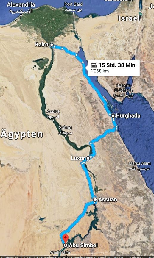travel route egypt