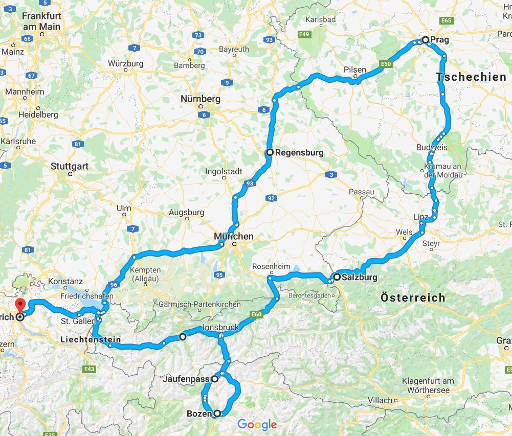 regensburg prag innsbruck meran