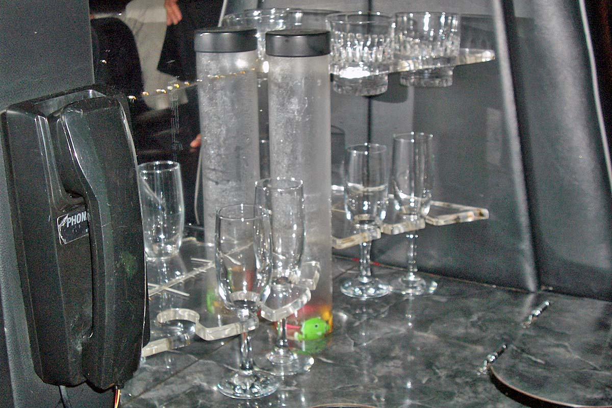 bar in stretch limousine