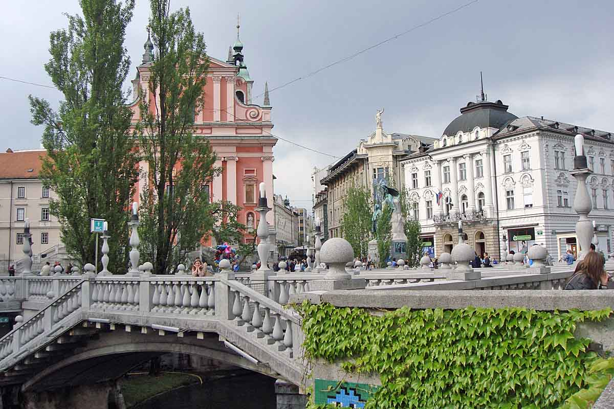 ljubljana bridge and church