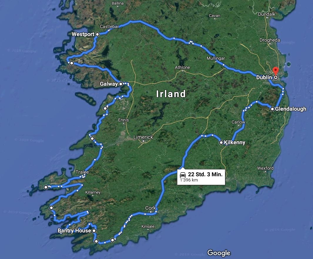 ireland travel route